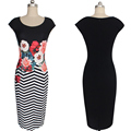 Floral Printed Zig Zag Color Block Slim Casual Party Cocktail Dress L36157