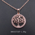 Fine New Design Tree of Life Rose Gold Plated CZ Pendant in Silver DR032754P