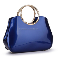 Fashion Women Ladies PU Leather Blue hand carry bag