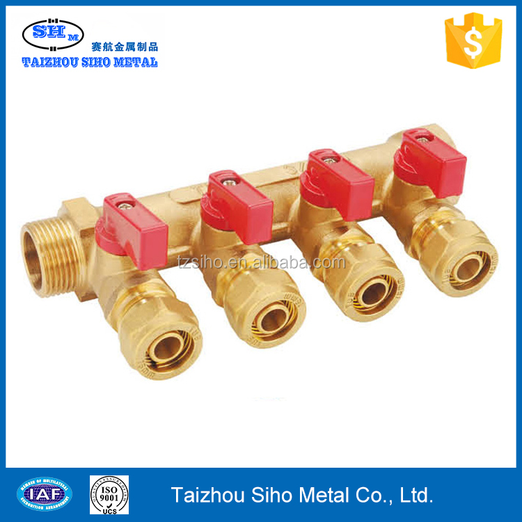 Copper high quality Chinese supplier 2 way 4 valve brass manifold