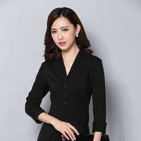 2016 New V Neck Style Dot Point Ladies Office Dress Uniform Design Dresses