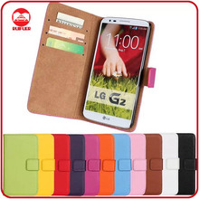 RF Manufacturer Book Style 100% Real Genuine Leather Card Holders Stand Magnetic Wallet Flip Cover Case for LG G2