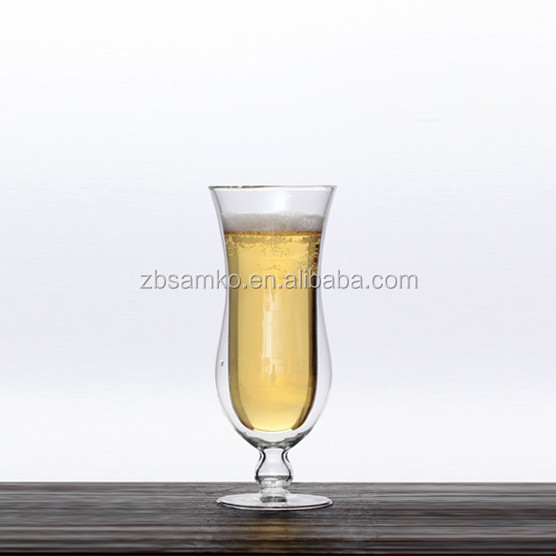 375ml tulip shaped double wall glass beer champagne cup with stand