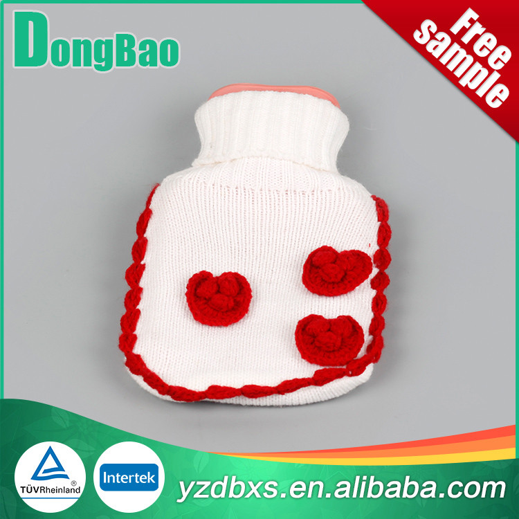 2000ml white fabric with heart hot water bottle covers