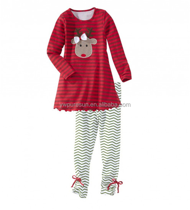 Applique reindeer wholesale cotton ruffle boutique outfits