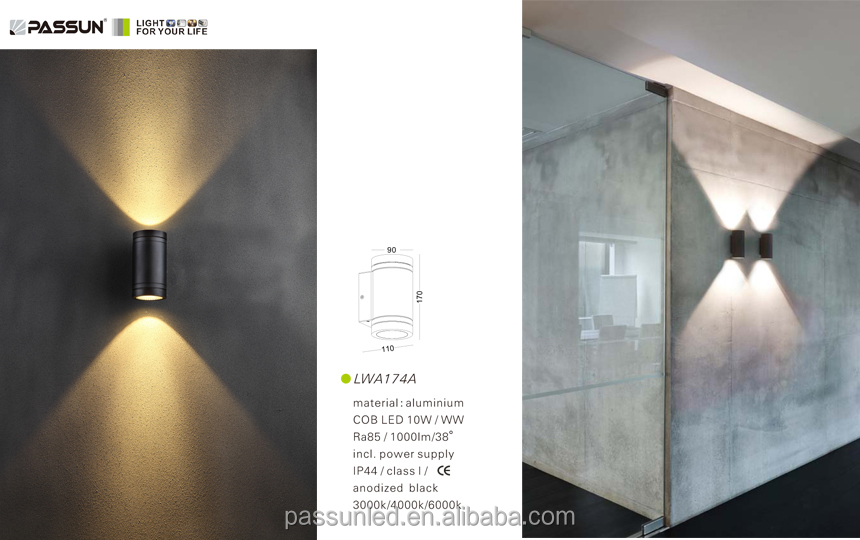 contemporary up and down outdoor wall mounted led light