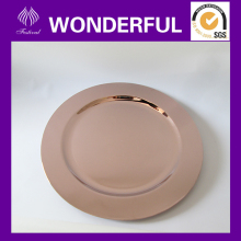 Hard disposable plastic gold round serving trays