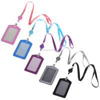 Vertical PU Business Badge Card Holder with Retractable Lanyard Neck Strap