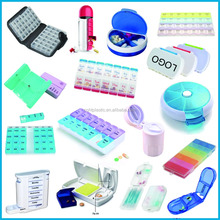 HTPE107 Hot Sales plastic round pocket pill box/pill case/pill container 7 day pill organizer