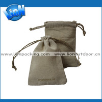 Customized handmade with logo linen cosmetic pouch eco-friendly travel bag