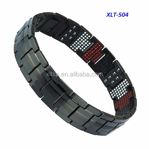 Men designs black color bio energy titanium germanium bracelet