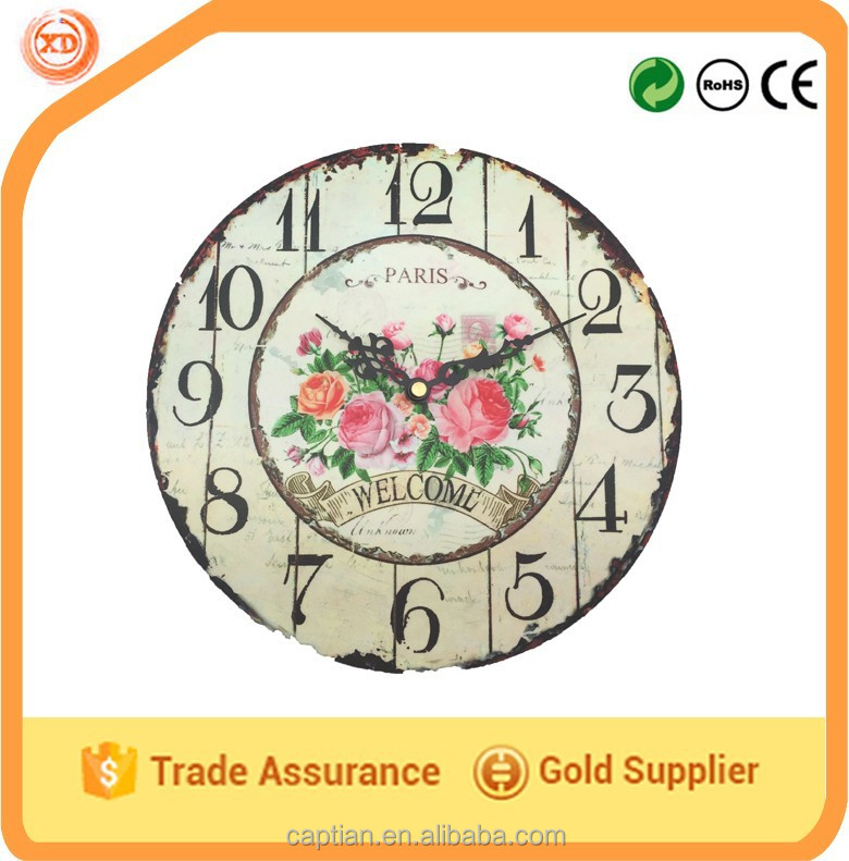Unique design DIY MDF wall clock for 2015 promotion