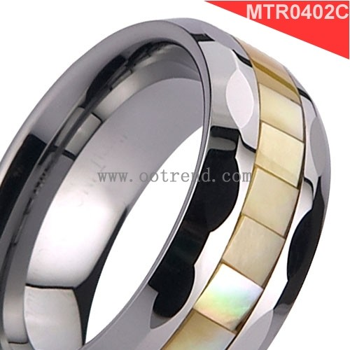 Tungsten carbide grooving Seashell inlay shell ring