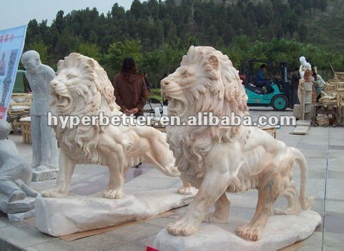 Perfect carving sunset marble sitting lions statue for garden