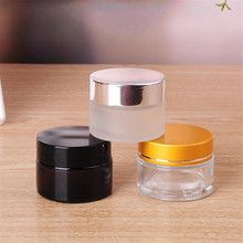 Customized 10ml 15ml 20ml 30ml 50ml 100ml clear amber frosted <strong>glass</strong> bottle cosmetic cream <strong>jar</strong> with aluminium lids
