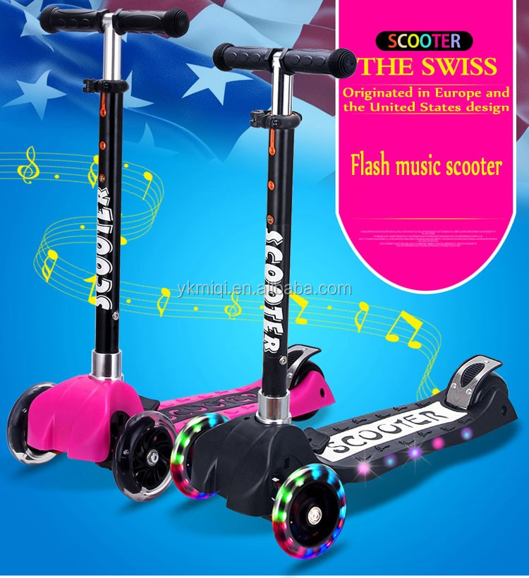 2017 New patent multi-function child kick scooter with music