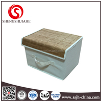 nonwoven fabric with bamboo folding storage box with cover