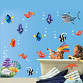 Underwater World 3d Wall Stickers Sea Fish star Cartoon bathroom nursery home decor Pvc wall decals mural 617