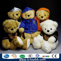 Highly quality teddy bear with ribbon custom stuffed teddy beay wear T-shirt made plush