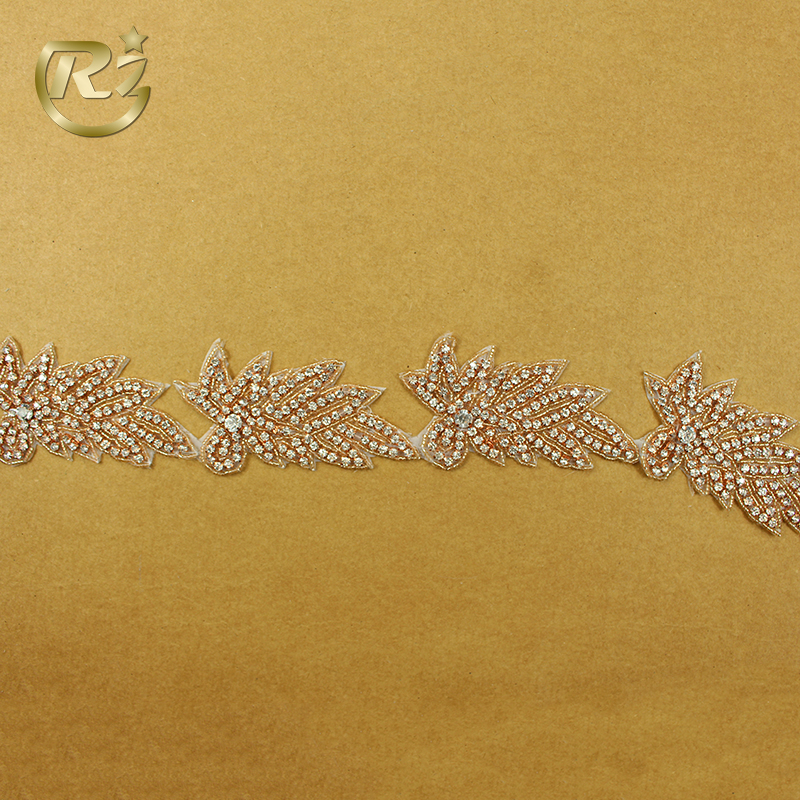 TL-15 Factory Low Price Delicate Bridal Lace Trim Embroidery Flat Back Stone Sew On Rhinestone Applique Trim
