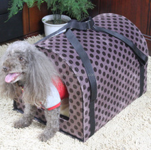 Custom wholesale latest design two uses cambered dog portable house with hard board
