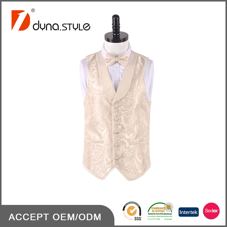 Contrast Satin Shawl Collar Banding Hemming Cream Paisley Party Wear Vests