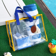 In stock Waterproof vacation beach pvc makeup bag with handle