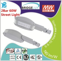 Singbee 5 years Warranty DLC/UL/cUL/CE/RoHS/LM79/LM80 2Bar 60W Led Street Light SP-1016 Module+Meanwell Driver+Bridgelux
