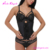 2017 New Design black latex clip and zip waist training corset