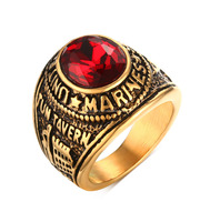 KSF Stainless Steel United States Army Military Ring Retro Vintage 18K Gold Plated Rings With Red Stone