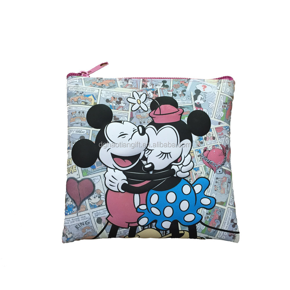 Kids give away gifts Full color print custom sewing purse silicone coin bag