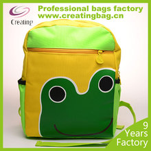 Fashion Custom Elementary Students School Bag for wholesale Little green frog