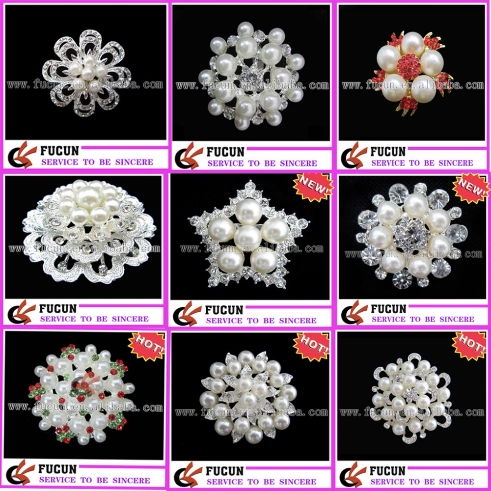 2017 fashion red rhinestone pearl garment wedding decorative brooch