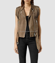 western tassel leather gilet for women