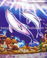 fish printed polar fleece fabric/blanket
