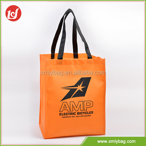 Hot sales eco-friendly orange color pp non woven bag for shopping