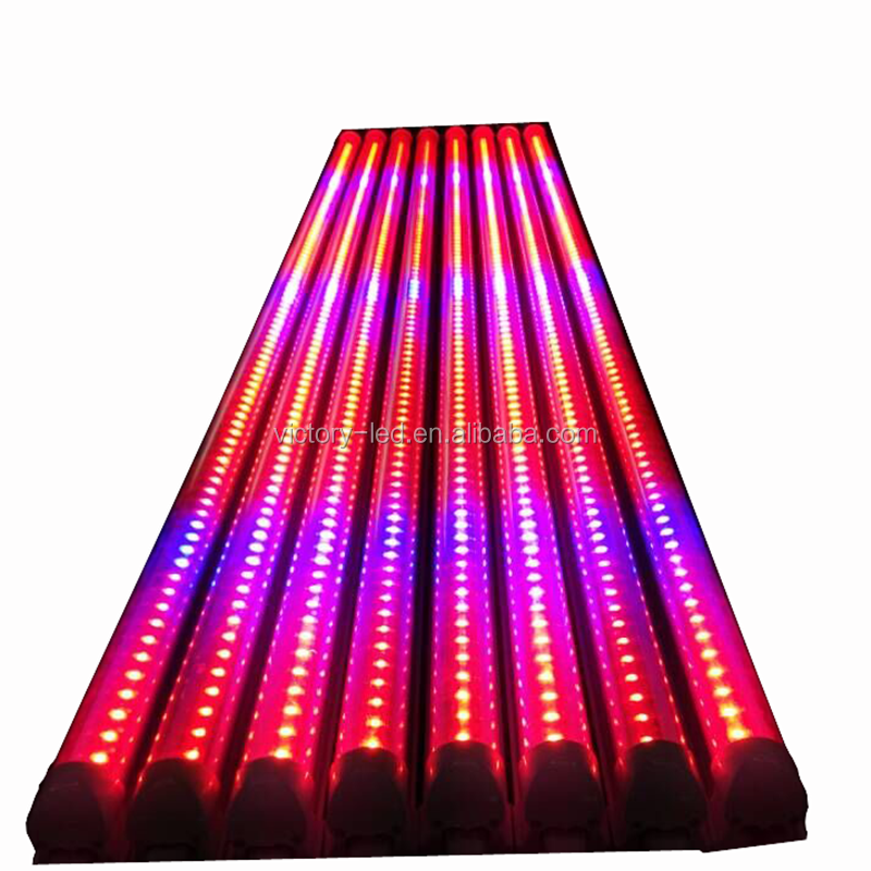 Shenzhen LED grow lighting price Red Blue color hydroponic growing systems T8 LED tube grow light
