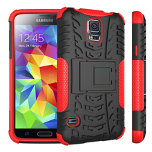 Factory wholesales PC TPU hybird shockproof kickstand case for samsung galaxy s5 case