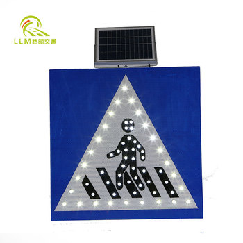 Traffic safety pedestrian crossing sign solar LED sign