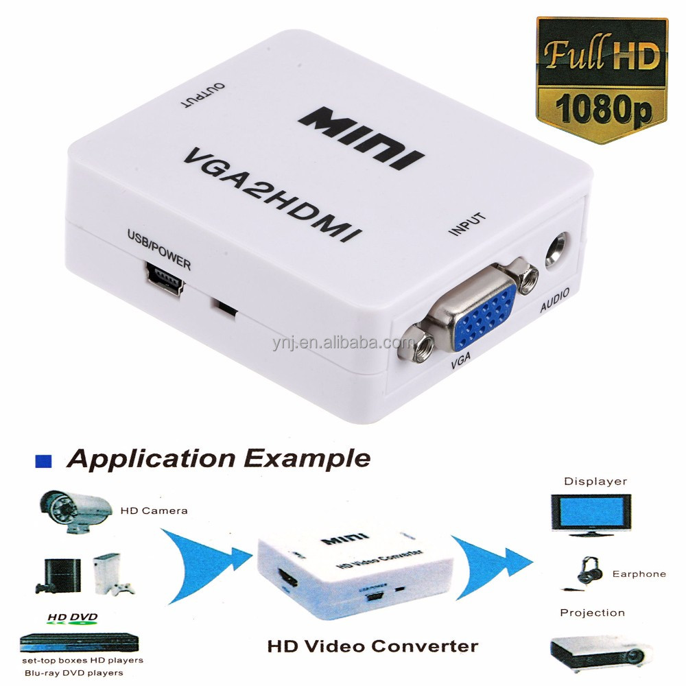 Wholesale 1080p VGA2HDMI Mini VGA to HDMI Converter with Audio for PC Laptop DVD