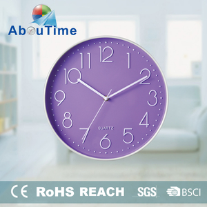 Sweep movement purple round olastic wall clock for sale