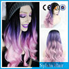 Large stock lace front purple ombre 3 tones synthetic hair wig hot selling in Miami