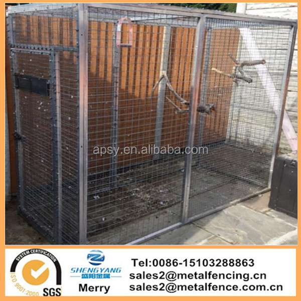 Metal Aluminium Parrot Bird Aviary Cage With swing feeders with Roof Sheets