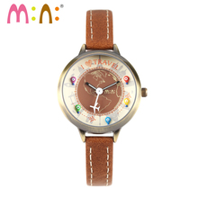Vintage Creative Gift Mini World Watch Handmade POLYMER CLAY CERAMICS Children women design Luxury leather