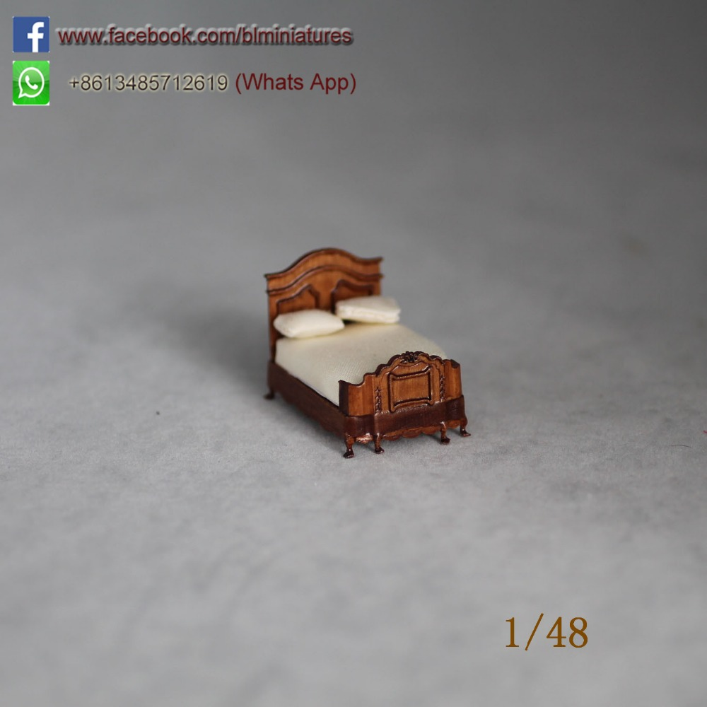 best wooden miniature furniture 1/48 scale dollhouse bed