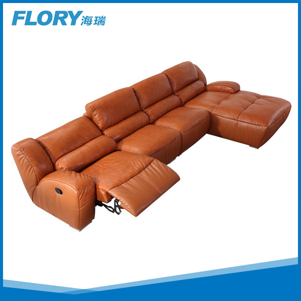 2015 Comfortable L shaped Sofa with Recliner FLORY F2148
