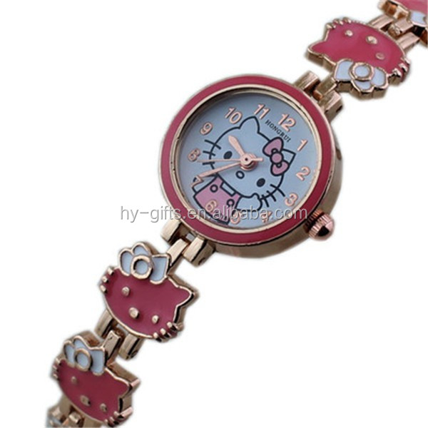 metal chain bracelet watch hello kitty pink girl watch quartz watch
