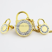 2017 New arrival gold plated stainless steel lock shape necklace and earrings jewelry sets by baicheng