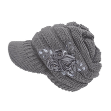 Excellent quality 100% acrylic fashionable brim simple girl knitted hat