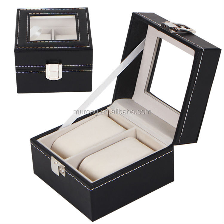 Mens 2 Watch Black Leather Display Case Organizer <strong>w</strong>/ Glass Top Box